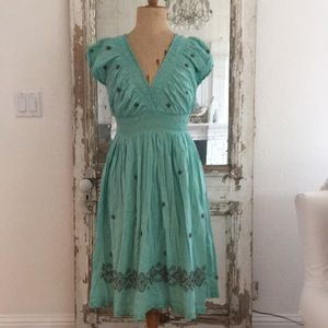 Cotton 👗 dress, Aqua with brown embroidery M/L